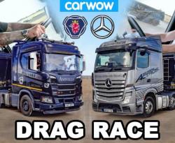 Сравниха камионите Mercedes-Benz Actros и Scania R500 в драг битка ВИДЕО